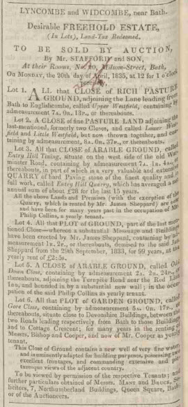 Entry Hill Quarry sale - Bath Chronicle and Weekly Gazette - Thursday 16 April 1835