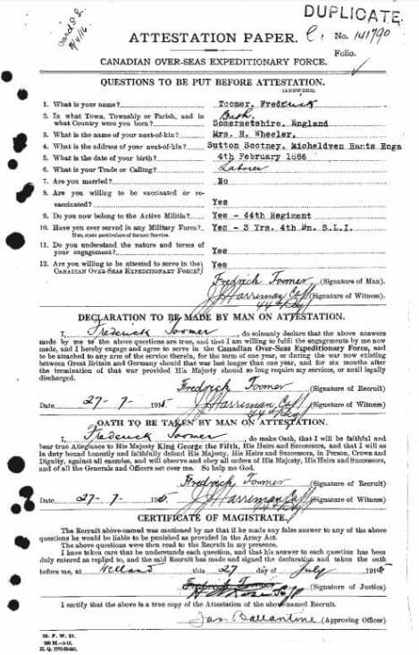 Frederick Toomer - Canada, WWI CEF Attestation Papers, 1914-1918