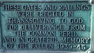 Holy Trinity church gate WWII commemoration plaque