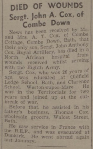 John A Cox dies of wounds - Bath Chronicle and Weekly Gazette - Saturday 4 December 1943
