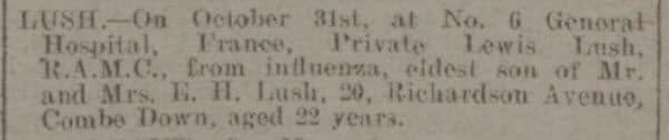 Lewis Lush death notice - Bath Chronicle and Weekly Gazette - Saturday 9 November 1918