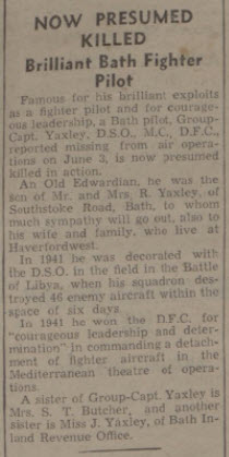 Now presumed killed - Bath Chronicle and Weekly Gazette - Saturday 29 April 1944