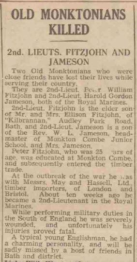 Old Monktonians killed - Bath Chronicle and Weekly Gazette - Saturday 7 September 1940