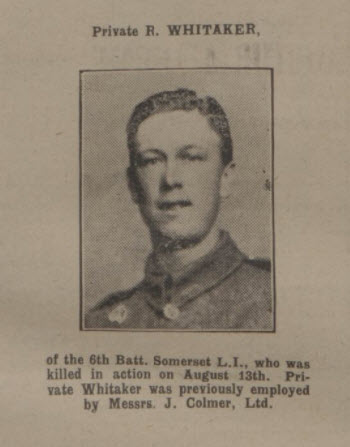 Reginald Whitaker - Bath Chronicle and Weekly Gazette - Saturday 26 August 1916