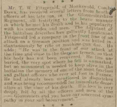 Tom Fitzgerald's death - Bath Chronicle and Weekly Gazette - Saturday 19 August 1916