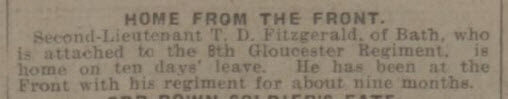 Tom Fitzgerald home - Bath Chronicle and Weekly Gazette - Saturday 8 April 1916