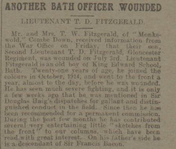 Tom Fitzgerald wounded - Bath Chronicle and Weekly Gazette - Saturday 8 July 1916