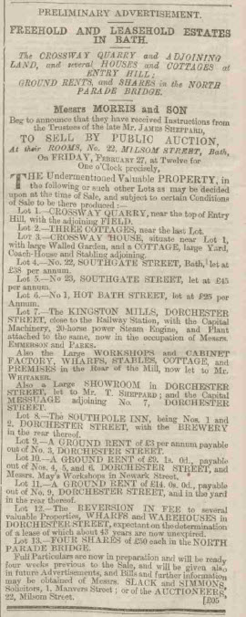 Trustees of James Sheppard - Bath Chronicle and Weekly Gazette - Thursday 29 January 1863