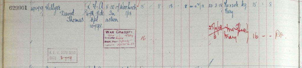 UK, Army Registers of Soldiers' Effects, 1901-1929 for David Thomas Hillyer