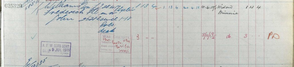 UK, Army Registers of Soldiers' Effects, 1901-1929 for Frederick John Williams