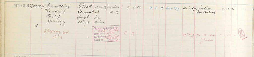UK, Army Registers of Soldiers' Effects, 1901-1929 for Kendrick Philip Henry Franklin