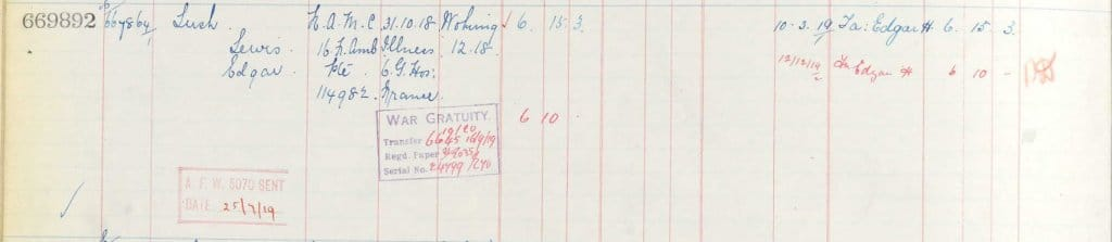 UK, Army Registers of Soldiers' Effects, 1901-1929 for Lewis Edgar Lush