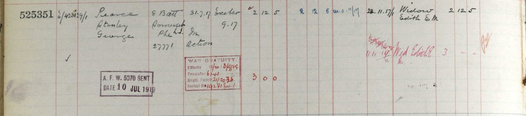 UK, Army Registers of Soldiers' Effects, 1901-1929 for Stanley George Pearce