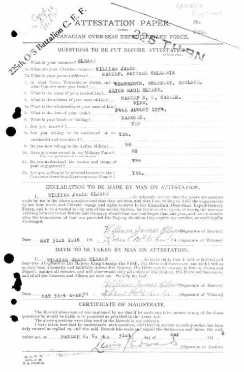 William James Clease - Canada, WWI CEF Attestation Papers, 1914-1918
