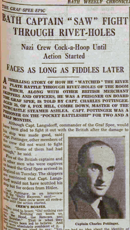 Capt Charles Pottinger - Bath Chronicle and Weekly Gazette - Saturday 20 January 1940
