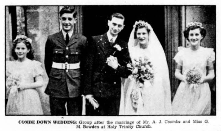 Coombs - Bowden wedding - Bath Chronicle and Weekly Gazette - Saturday 19 August 1950