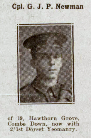 Corporal G J P Newman - Bath Chronicle and Weekly Gazette - Saturday 12 January 1918