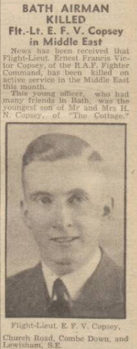 Ernest Francis Victor Copsey - Bath Chronicle and Weekly Gazette - Saturday 31 October 1942
