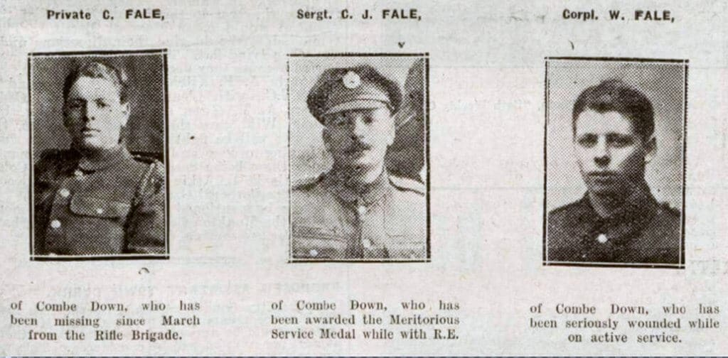 Fale brothers, Bath Chronicle, Saturday 13 July 1918