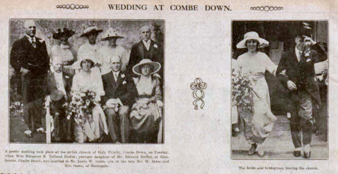 Gates - Dudley wedding at Combe Down - Bath Chronicle and Weekly Gazette - Saturday 26 June 1920