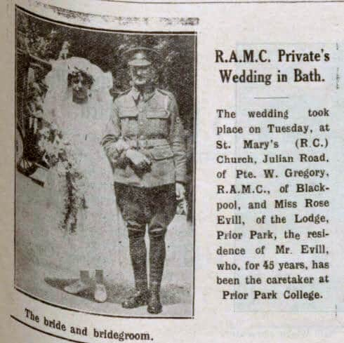 Gregory - Evill wedding - Bath Chronicle and Weekly Gazette - Saturday 30 June 1917