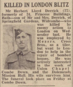 Herbert Lloyd Derrick - Bath Chronicle and Weekly Gazette - Saturday 26 April 1941