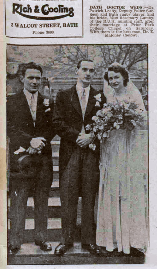 Leahy - Lumby wedding - Bath Chronicle and Weekly Gazette - Saturday 6 January 1945