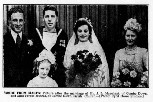Marchant - Muscat wedding - Bath Chronicle and Weekly Gazette - Saturday 29 April 1950