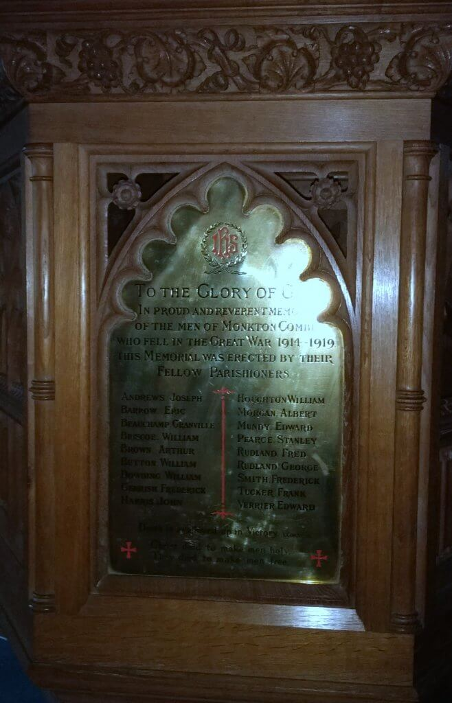 Monkton Combe church memorial