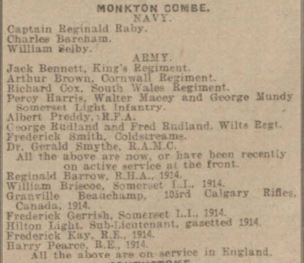 Monkton Combe soldiers - Bath Chronicle and Weekly Gazette - Saturday 7 November 1914