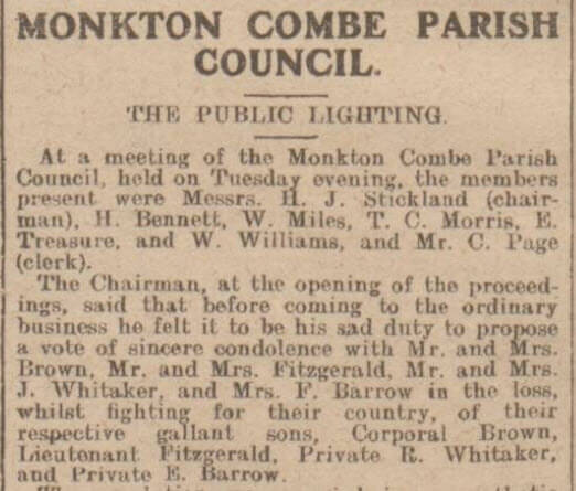 Parish Council condolences - Bath Chronicle and Weekly Gazette - Saturday 16 September 1916