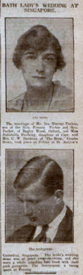 Parker - Daubeney Singapore wedding - Bath Chronicle and Weekly Gazette - Saturday 1 September 1923