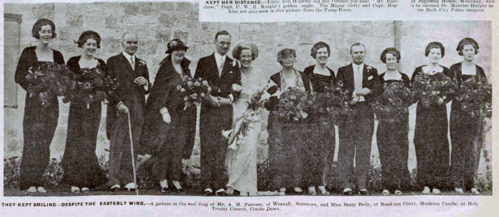 Parson - Bailey wedding - Bath Chronicle and Weekly Gazette - Saturday 26 October 1935