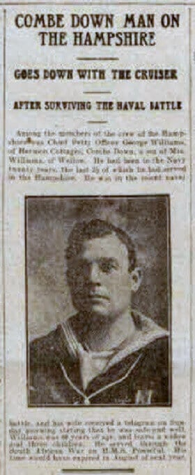 Petty Officer George Williams - Bath Chronicle and Weekly Gazette - Saturday 10 June 1916