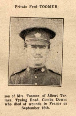 Private Fred Toomer - Bath Chronicle and Weekly Gazette - Saturday 7 October 1916
