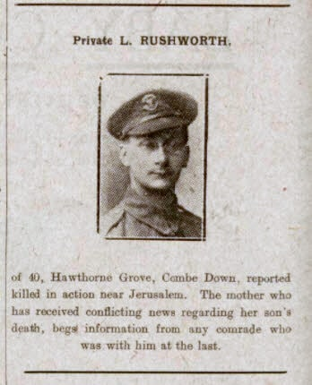Private L Ruchworth - Bath Chronicle and Weekly Gazette - Saturday 12 October 1918
