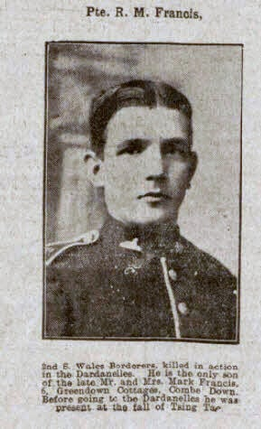 Private R M Francis - Bath Chronicle and Weekly Gazette - Saturday 21 August 1915