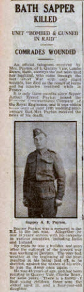 Sapper Arthur Ernest Payton of Quarry Vale, Combe Down - Bath Chronicle and Weekly Gazette - Saturday 25 May 1940
