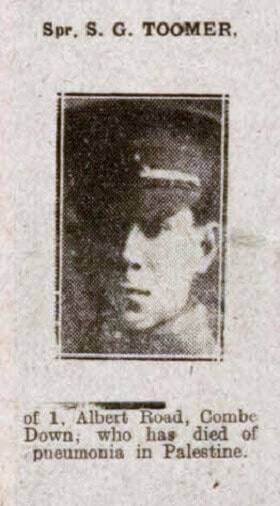 Sergeant S G Toomer - Bath Chronicle and Weekly Gazette - Saturday 2 November 1918