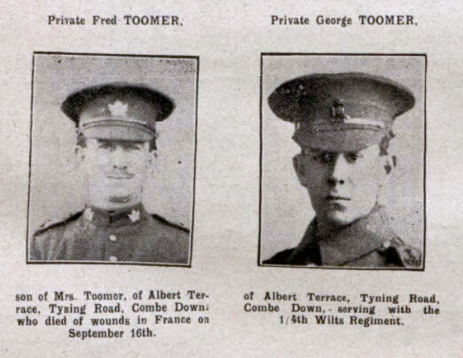 Toomer brothers - Bath Chronicle and Weekly Gazette - Saturday 7 October 1916
