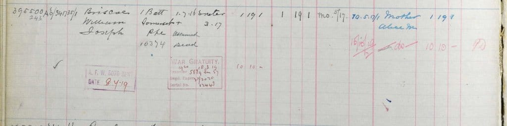 UK, Army Registers of Soldiers' Effects, 1901-1929 for William Joseph Briscoe