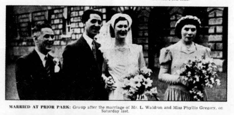 Waldron - Gregory wedding - Bath Chronicle and Weekly Gazette - Saturday 1 July 1950