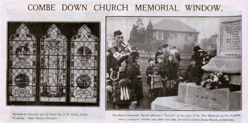 Combe Down church memorial window - Bath Chronicle and Weekly Gazette - Saturday 2 December 1922