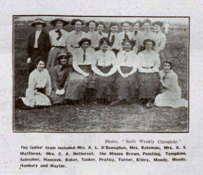 Combe Down ladies cricketers - Bath Chronicle and Weekly Gazette - Saturday 26 April 1913