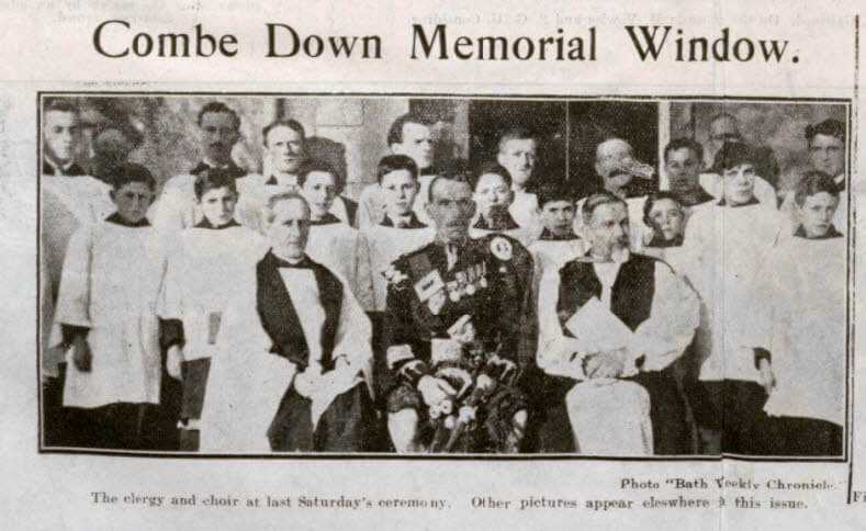 Combe Down memorial window - Bath Chronicle and Weekly Gazette - Saturday 2 December 1922