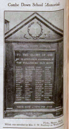 Combe Down school memorial - Bath Chronicle and Weekly Gazette - Saturday 23 July 1921