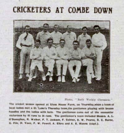 Cricketers at Combe Down - Bath Chronicle and Weekly Gazette - Saturday 26 April 1913