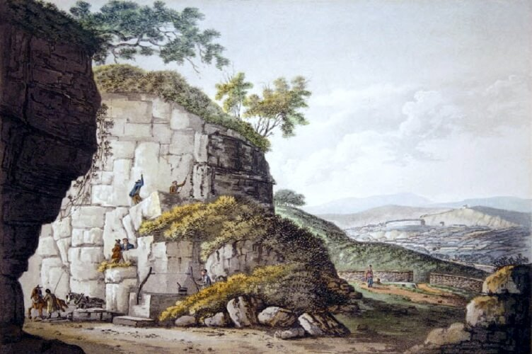 'Free Stone Quarries. View near Bath. Somersetshire', 1791