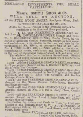 Highbury Buildings and Raby Place - Bath Chronicle and Weekly Gazette - Thursday 24 June 1880