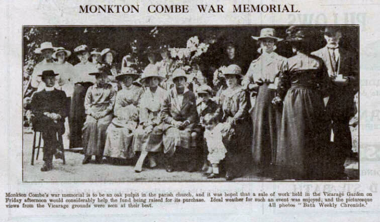 Monkton Combe war memorial - Bath Chronicle and Weekly Gazette - Saturday 19 July 1919
